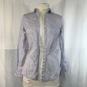 uniqlo polka dot button down blouse